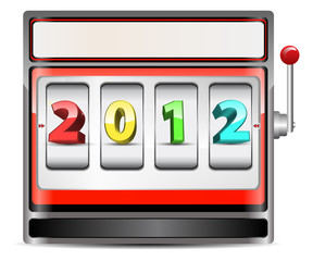 red slot machine with 2012 calendar sign