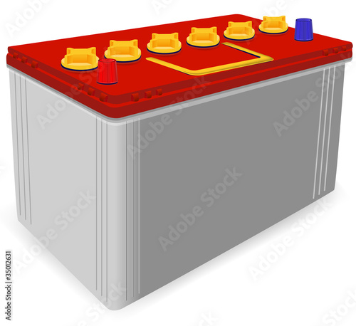 red car battery isolated on white background
