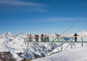 On the observation deck on the glacier. The resort of Solden. Au