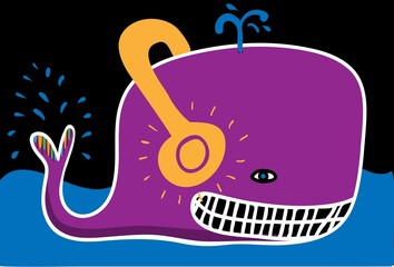 Whale with headphones