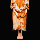 Mixed race woman in Asian robe