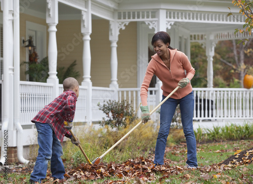Black mother and son raking leaves