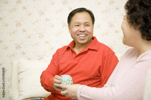 Chinese couple drinking tea