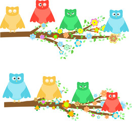family owls sitting in tree branches with flower