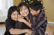 Filipino family smiling at Christmas time