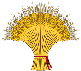 Vector sheaf of wheat on a white background
