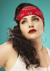 Glamorous Hispanic woman wearing bandana