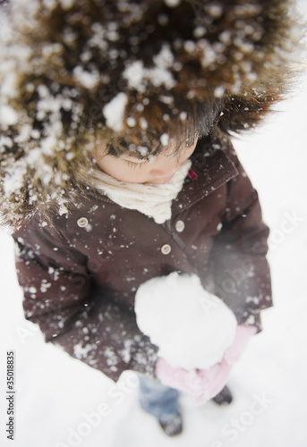 Chinese girl holding snowball
