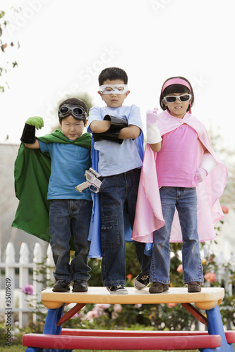 Korean children in superhero costumes
