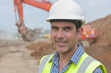 Hispanic construction worker on construction site