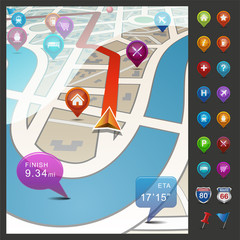 Navigational City Map with Icons.