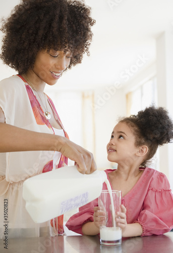 Mother pouring milk into glass for daughter