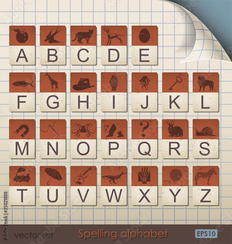 Vintage Spelling Alphabet.