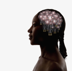 Black woman with light bulbs in head