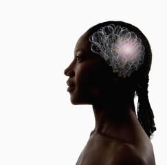 Black woman with light bulbs in head
