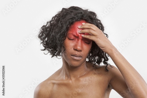 Black woman with headache