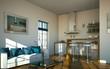 Wohndesign - Küche weiß mit Sofa