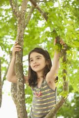 Caucasian girl climbing in tree