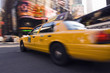 Speeding taxi in city