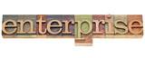 enterprise word in letterpress type poster