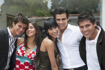 Hispanic friends hanging out together