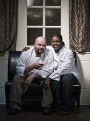 Chefs unwinding in restaurant