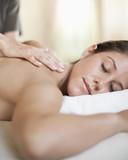 Caucasian woman having a massage