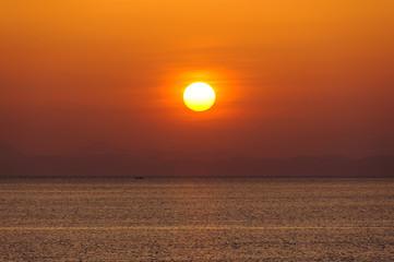 陸奥湾の夕陽