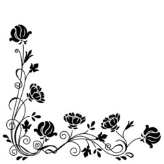 Stylized black and white floral swirl branch