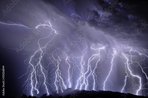 Storm Lightning over the Rincon Mountains