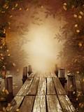 Jesienny krajobraz z drewnianym molo