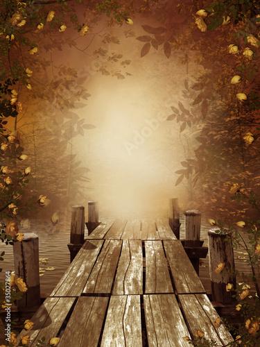 Fototapeta Jesienny krajobraz z drewnianym molo
