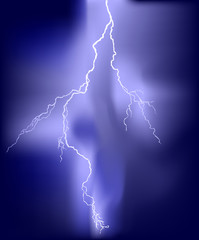 illustration with lightning in lilac sky