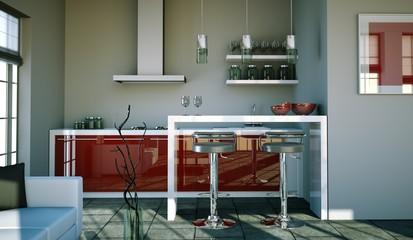 Küchendesign - Küche rot grau