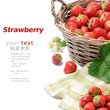 Strawberries in basket over white