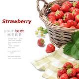 Fototapety Strawberries in basket over white