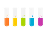 Fialette colorate, chimica. Colored chemistry vials. poster