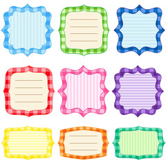 Set of 9 bright  frames with gingham pattern