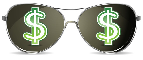 sunglasses with green dollar sign