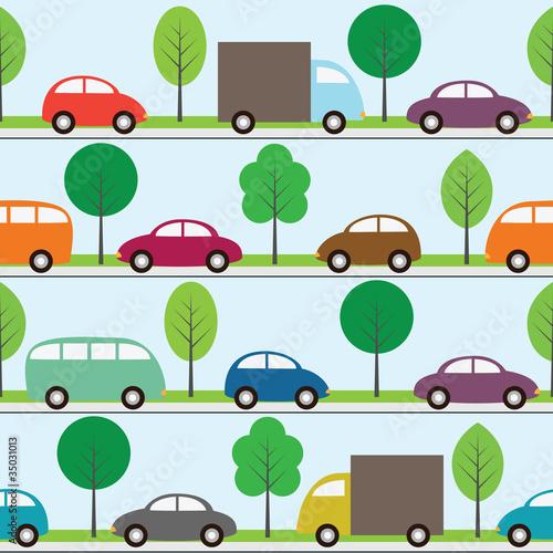 Foto op Plexiglas Op straat Seamless background with cartoon cars