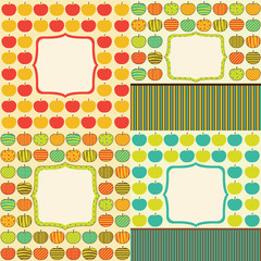 Set of four cards with retro apple pattern