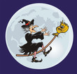 witch and her broomstick - fairy tale