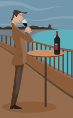 Man sipping wine