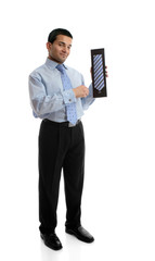 Salesman holding or showing a silk tie