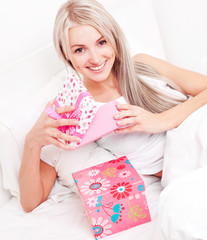 woman getting presents