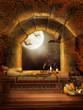 Magiczne okno z nietoperzami w chatce czarownicy