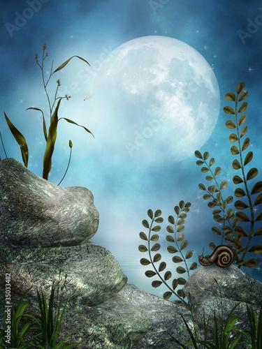 Sceneria fantasy z księżycem i skałami