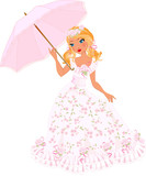 Blond girl in pink dress with umbrella