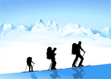 Bergwandern im Winter poster