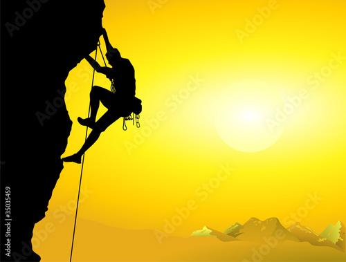 Bergsteiger an einer Felswand